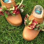 Swedish clogs decorated with garlands of Hydrangea, Sedum, thyme and rosemary