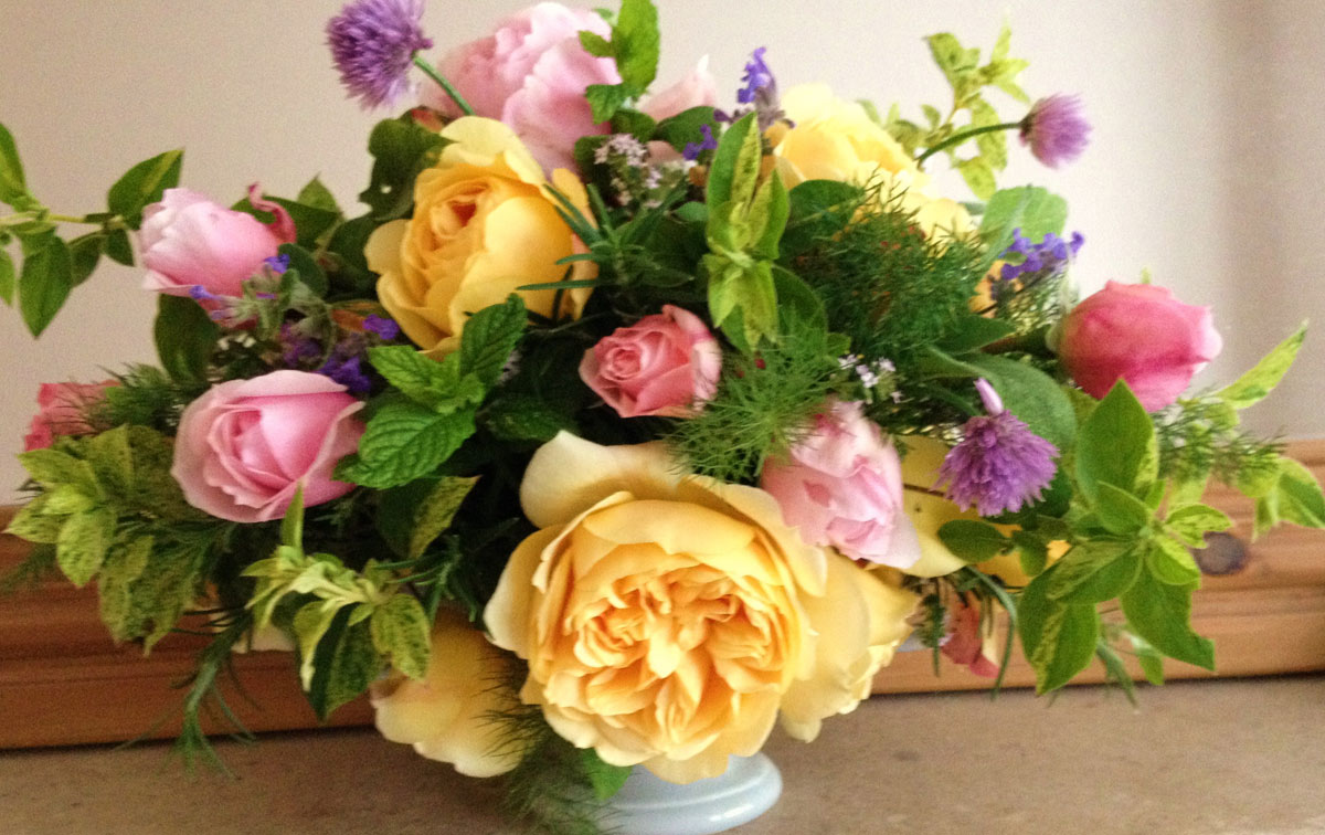 Arrangement with yellow roses
